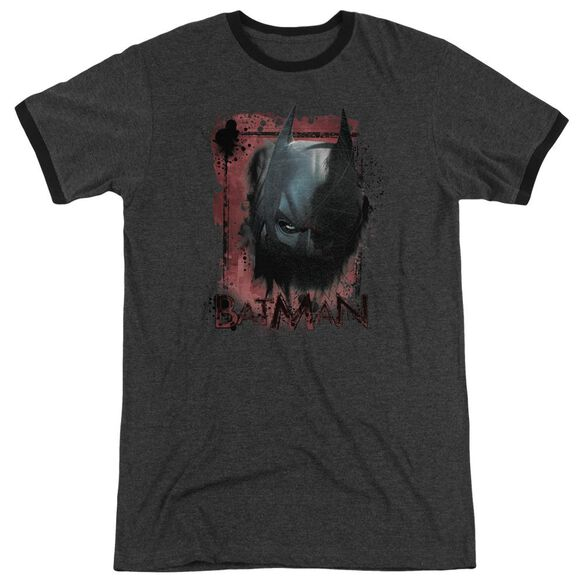 Dark Knight Rises Fear Me Adult Heather Ringer Charcoal