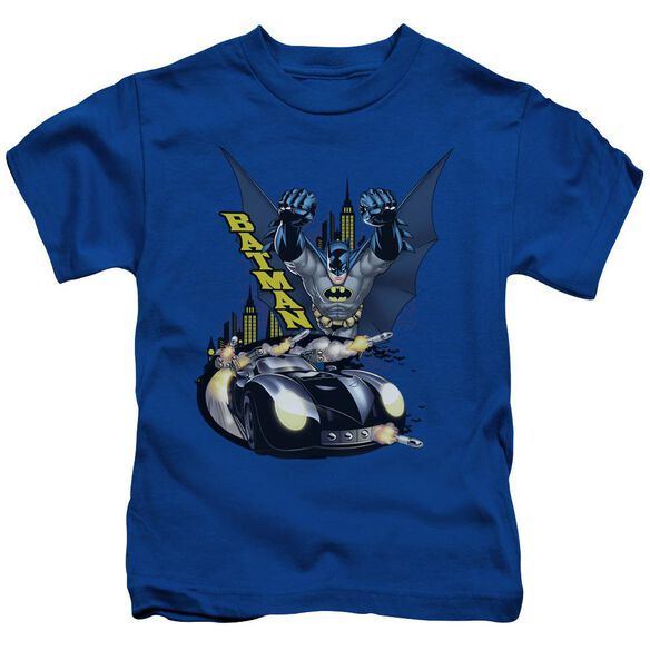 Batman By Air & By Land Short Sleeve Juvenile Royal Blue Md T-Shirt
