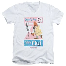 PINK PANTHER SAY OUI - S/S ADULT V-NECK T-Shirt