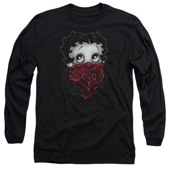 Betty Boop Bandana & Roses Long Sleeve Adult T-Shirt