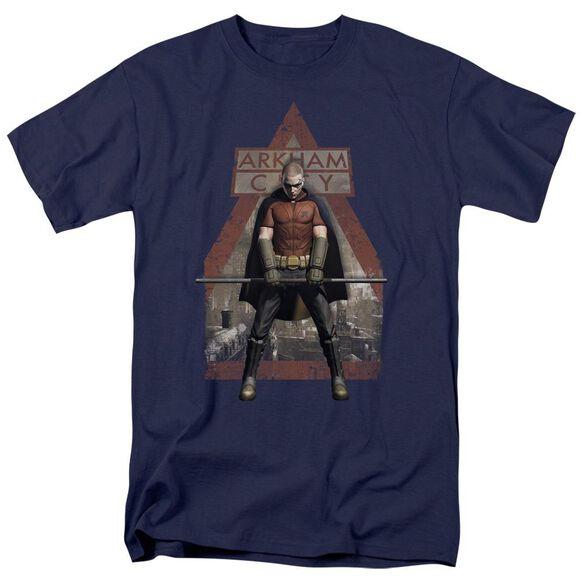 Arkham City Arkham Robin Short Sleeve Adult Navy T-Shirt