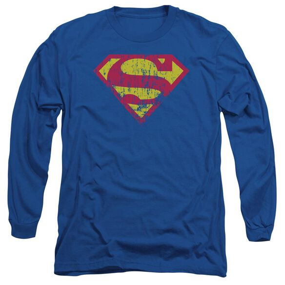Superman Classic Logo Distressed Long Sleeve Adult Royal T-Shirt