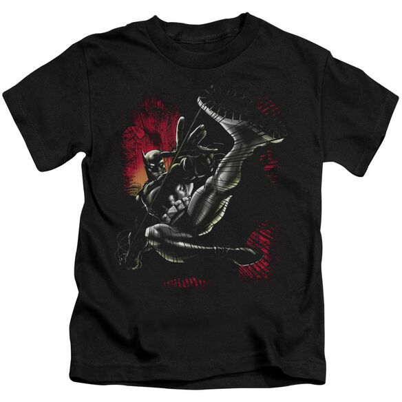 Batman Kick Swing Short Sleeve Juvenile Black T-Shirt