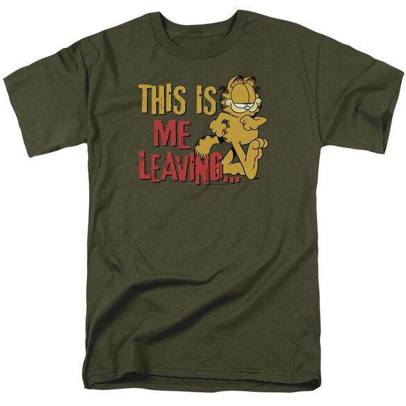 Garfield Leaving Short Sleeve Adult Military Green T-Shirt
