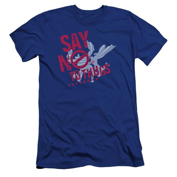 Superman Say No To Thugs Premuim Canvas Adult Slim Fit Royal