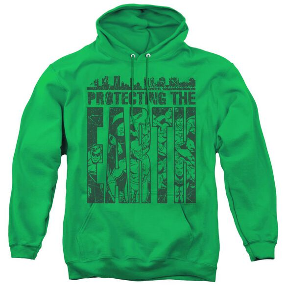 Dc Protecting The Earth - Adult Pull-over Hoodie - Kelly Green