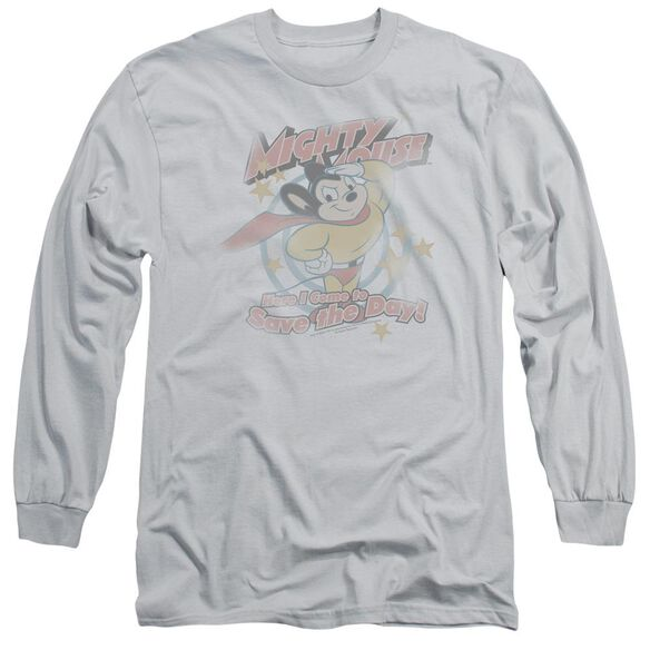 MIGHTY MOUSE AT YOUR SERVICE - L/S ADULT 18/1 - SILVER T-Shirt