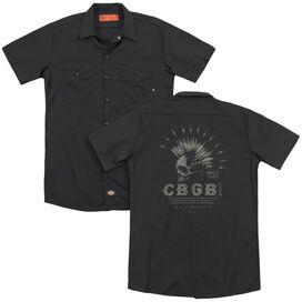 Cbgb Electric Skull(Back Print) Adult Work Shirt