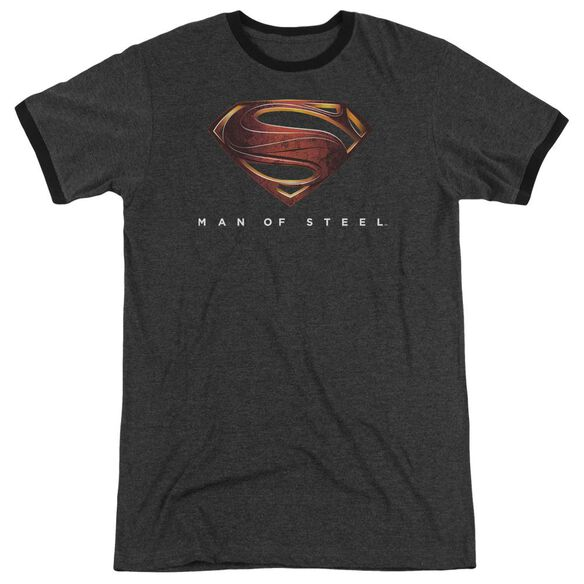 Man Of Steel Mos New Logo Adult Heather Ringer Charcoal