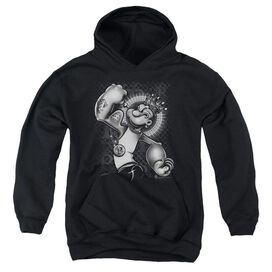 Popeye Spinach King-youth Pull-over Hoodie - Black