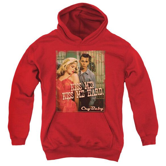 CRY BABY KISS ME - YOUTH PULL-OVER HOODIE - RED - SM - Red