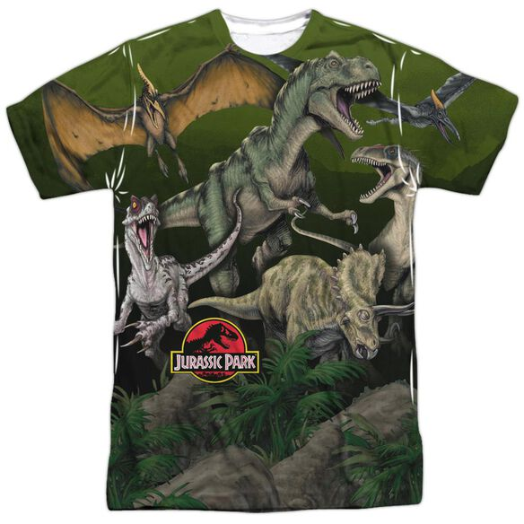 Jurassic Park Pack Of Dinos Short Sleeve Adult Poly Crew T-Shirt