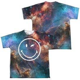 Smiley World Galactic Smiley (Front Back Print) Short Sleeve Youth Poly Crew T-Shirt