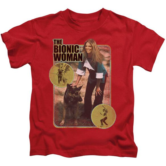 Bionic Woman Jamie And Max Short Sleeve Juvenile Red T-Shirt