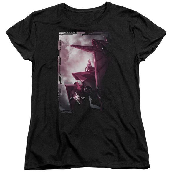 Power Rangers Pink Zord Poster Short Sleeve Womens Tee T-Shirt