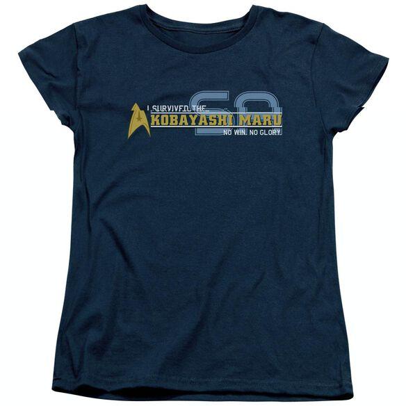 STAR TREK I SURVIVED - S/S WOMENS TEE - NAVY T-Shirt