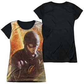 The Flash Flash Town Short Sleeve Junior Poly Black Back T-Shirt
