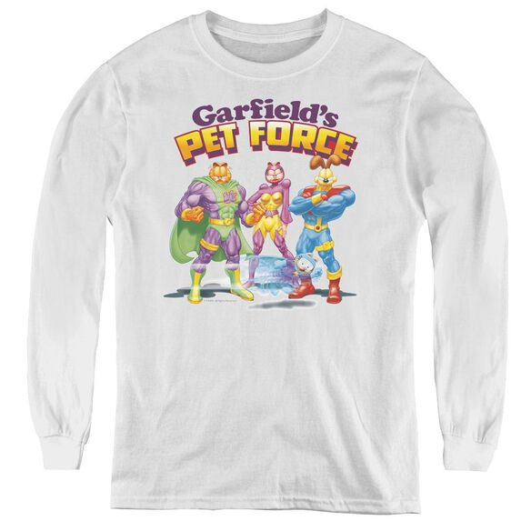 Garfield Heroes Await - Youth Long Sleeve Tee - White