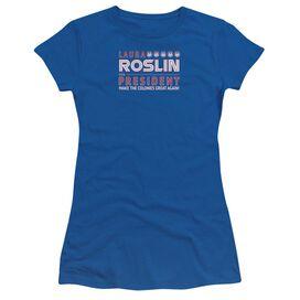 Bsg Roslin For President Short Sleeve Junior Sheer Royal T-Shirt