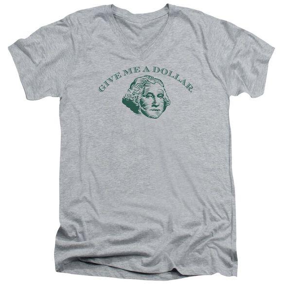 Give Me A Dollar Short Sleeve Adult V Neck Athletic T-Shirt