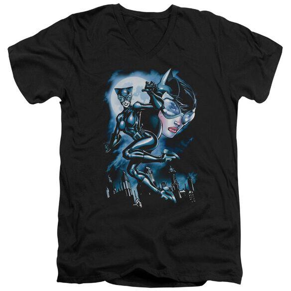 Batman Moonlight Cat Short Sleeve Adult V Neck T-Shirt