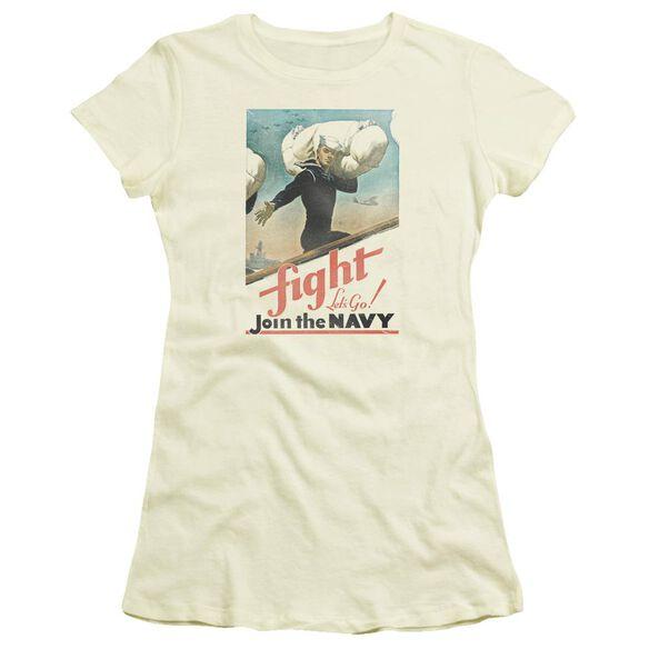 Navy Fight Let's Go Short Sleeve Junior Sheer T-Shirt