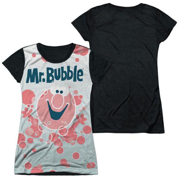 Mr Bubble Bubbles Everywhere Short Sleeve Junior Poly Black Back T-Shirt