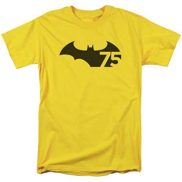 Batman 75 Logo Short Sleeve Adult Yellow T-Shirt