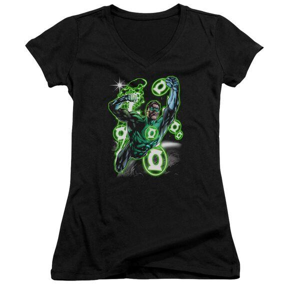 Green Lantern Earth Sector Junior V Neck T-Shirt