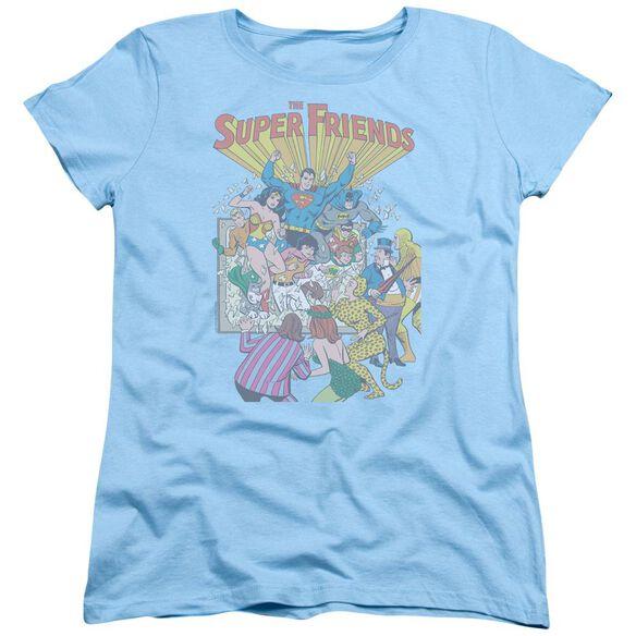 Jla Super Friends #1 Short Sleeve Womens Tee Light Blue T-Shirt