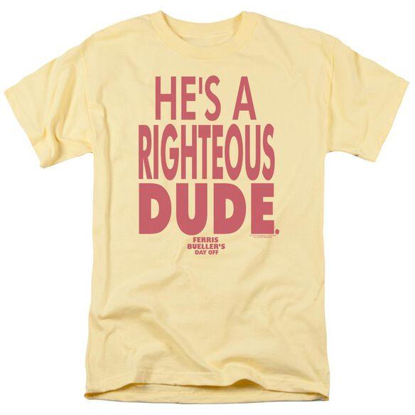 Ferris Bueller Righteous Dude Short Sleeve Adult Banana T-Shirt