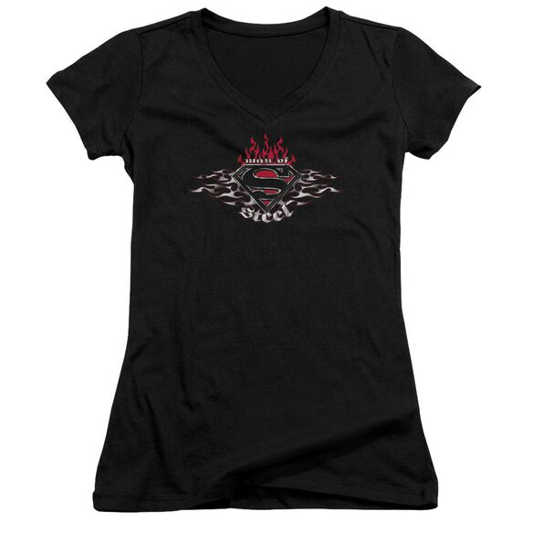 Superman Steel Flames Shield Junior V Neck T-Shirt