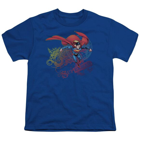 SUPERMAN COOL WORD SUPES - S/S YOUTH 18/1 - ROYAL BLUE T-Shirt