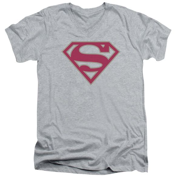 Superman Crimson & Gray Shield Short Sleeve Adult V Neck Athletic T-Shirt