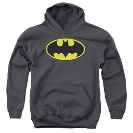 BATMAN CLASSIC BAT LOGO-YOUTH PULL-OVER HOODIE - CHARCOAL