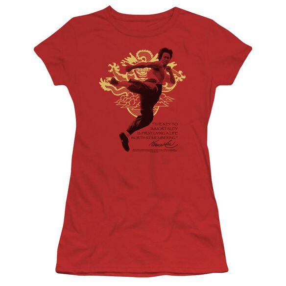Bruce Lee Immortal Dragon Short Sleeve Junior Sheer T-Shirt