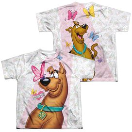 Scooby Doo Butterfly (Front Back Print) Short Sleeve Youth Poly Crew T-Shirt