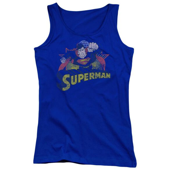 Jla Superman Rough Distress Juniors Tank Top Royal