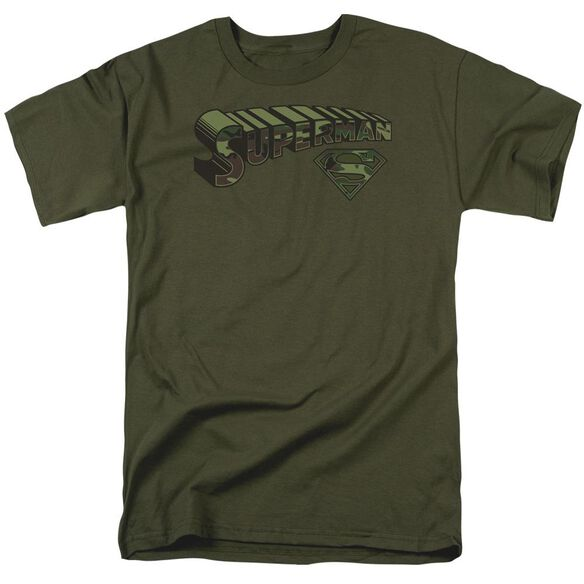 Superman Camo Logo & Shield Short Sleeve Adult Military Green T-Shirt