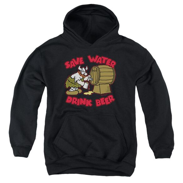 Hagar The Horrible Save Water Drink Beer Youth Pull Over Hoodie