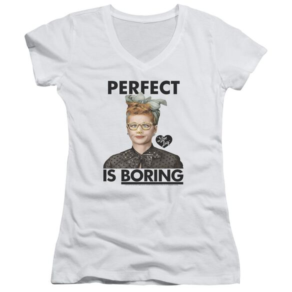 I Love Lucy Perfect Is Boring Junior V Neck T-Shirt