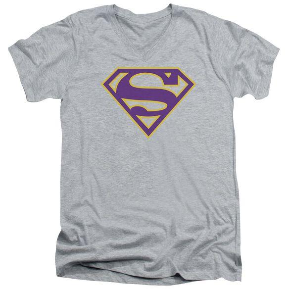 SUPERMAN PURPLE & GOLD SHIELD - S/S ADULT V-NECK - ATHLETIC HEATHER T-Shirt