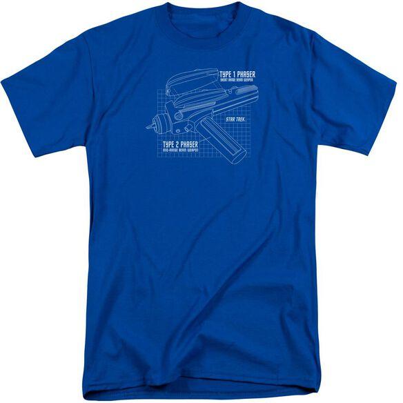 Star Trek Phaser Plans Short Sleeve Adult Tall Royal T-Shirt