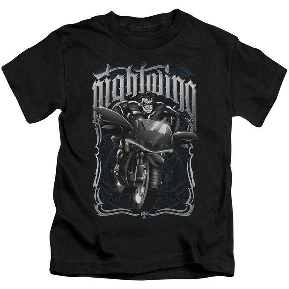 Batman Nightwing Biker Short Sleeve Juvenile Black T-Shirt