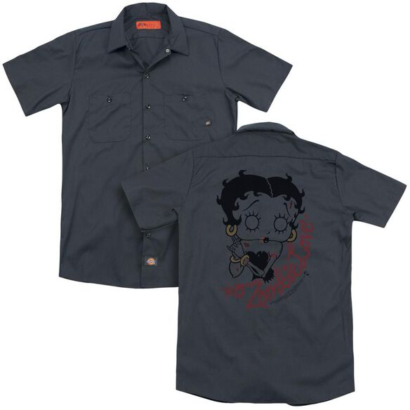 Betty Boop Classic Zombie(Back Print) Adult Work Shirt
