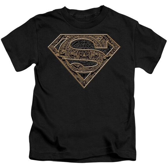 Superman Aztec Shield Short Sleeve Juvenile Black T-Shirt