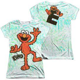 Sesame Street Elmo Scribble (Front Back Print) Short Sleeve Junior Poly Crew T-Shirt