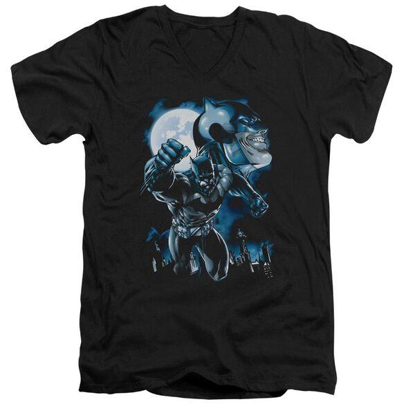 BATMAN MOONLIGHT BAT - S/S ADULT V-NECK - BLACK T-Shirt
