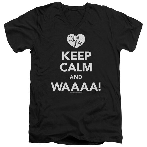 I Love Lucy Keep Calm Waaa Short Sleeve Adult V Neck T-Shirt