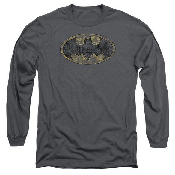 Batman Tattered Logo Long Sleeve Adult T-Shirt